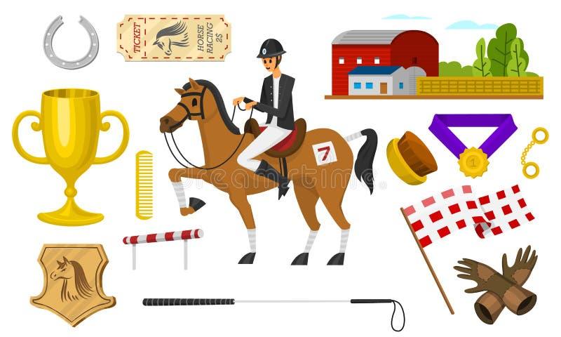 Σύνολο οδήγησης πλατών αλόγου Εικονίδια αγώνα για Jockey δραστηριότητας τη λέσχη Σύνολο εξοπλισμών για την ιππική αθλητική αφίσα απεικόνιση αποθεμάτων