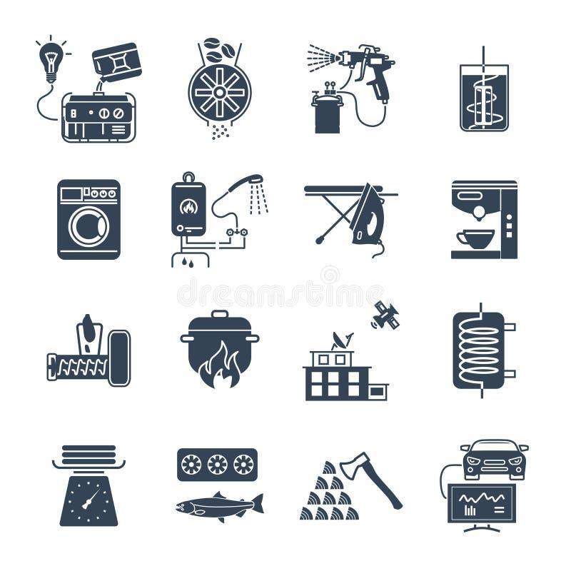 Σύνολο οικιακών συσκευών εικονιδίων, ηλεκτρικός εξοπλισμός διανυσματική απεικόνιση