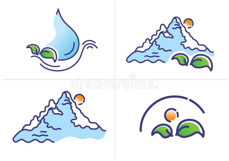Σύνολο οικολογικού λογότυπου, διανυσματική απεικόνιση γραμμών μιας πτώσης του νερού, πράσινα φύλλα, βουνό, ήλιος, ελεύθερη απεικόνιση δικαιώματος