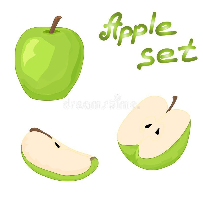 Σύνολο ολόκληρου του πράσινου μήλου, μισού μήλου και μιας φέτας του μήλου στοκ φωτογραφία με δικαίωμα ελεύθερης χρήσης