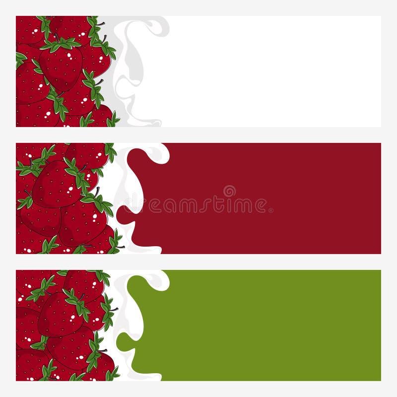 Σύνολο οριζόντιων εμβλημάτων με τη φράουλα απεικόνιση αποθεμάτων