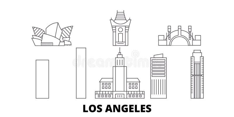 Σύνολο οριζόντων ταξιδιού γραμμών Ηνωμένων, Λος Άντζελες πόλεων Διάνυσμα πόλεων περιλήψεων Ηνωμένων, Λος Άντζελες πόλεων διανυσματική απεικόνιση