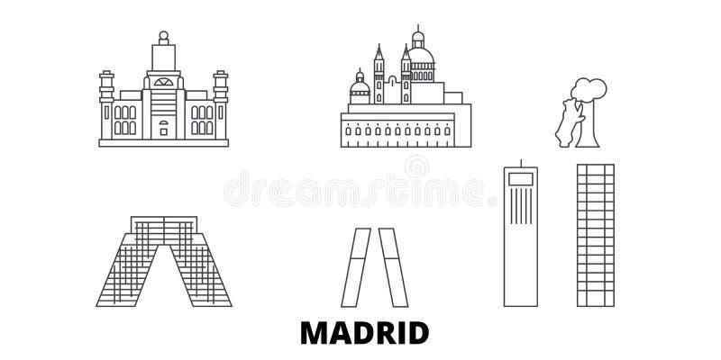 Σύνολο οριζόντων ταξιδιού γραμμών πόλεων της Ισπανίας, Μαδρίτη Διανυσματική απεικόνιση πόλεων περιλήψεων πόλεων της Ισπανίας, Μαδ απεικόνιση αποθεμάτων