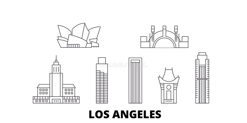 Σύνολο οριζόντων ταξιδιού Ηνωμένων, Λος Άντζελες γραμμών Διανυσματική απεικόνιση πόλεων Ηνωμένων, Λος Άντζελες περιλήψεων, σύμβολ ελεύθερη απεικόνιση δικαιώματος