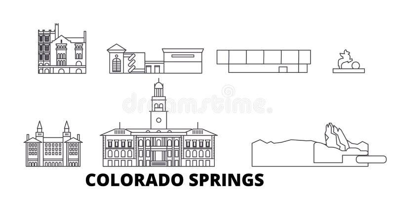 Σύνολο οριζόντων ταξιδιού Ηνωμένων, Colorado Springs γραμμών Διάνυσμα πόλεων Ηνωμένων, Colorado Springs περιλήψεων ελεύθερη απεικόνιση δικαιώματος