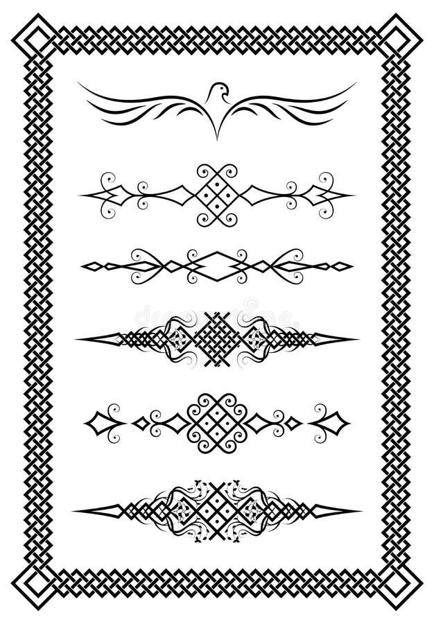 Σύνολο οριοθετών κειμένων και διακοσμητικού πλαισίου Σλαβικά σχέδια διανυσματική απεικόνιση