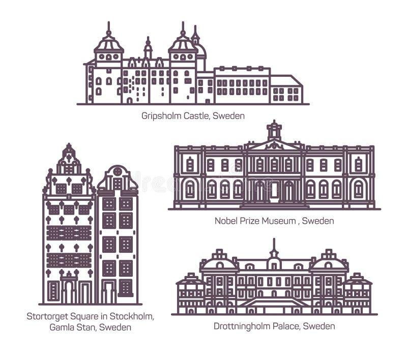 Σύνολο ορόσημων αρχιτεκτονικής της Σουηδίας στη γραμμή απεικόνιση αποθεμάτων