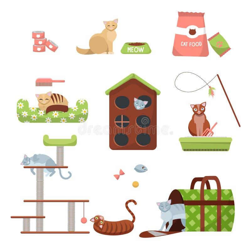 Σύνολο ουσίας προσοχής γατών: γρατσουνίζοντας θέση, σπίτι, κρεβάτι, τρόφιμα, τουαλέτα, παντόφλα, μεταφορέας και παιχνίδια με 7 γά απεικόνιση αποθεμάτων