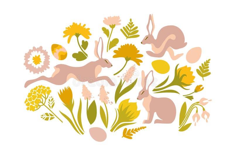 Σύνολο Πάσχας αντικειμένων για το σχέδιο Τυπωμένη ύλη για Πάσχα Κουνέλια άλματος και λουλούδια άνοιξη, φτέρες ελεύθερη απεικόνιση δικαιώματος