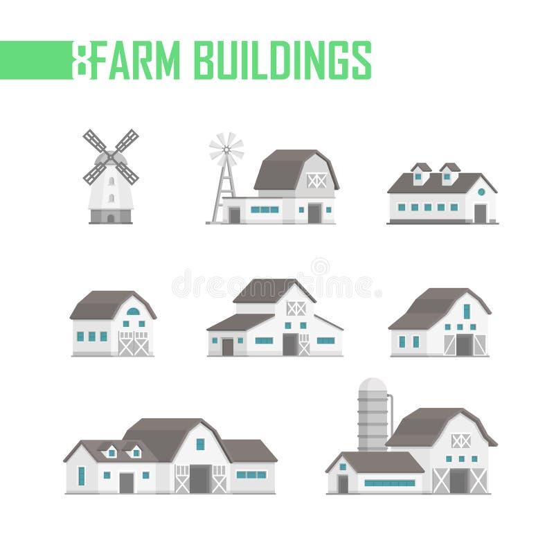Σύνολο πέντε αγροτικών κτηρίων εικονιδίων - διανυσματική απεικόνιση ελεύθερη απεικόνιση δικαιώματος