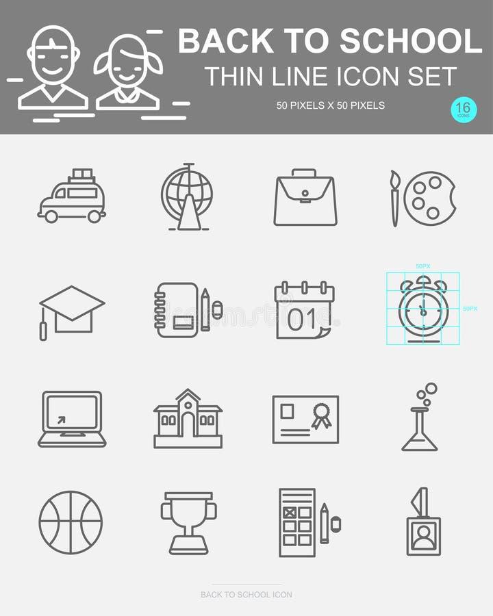 Σύνολο πίσω εικονίδια σχολικών στα διανυσματικά γραμμών Περιλαμβάνει το λεωφορείο, την τσάντα, τη βιολογία, το ρολόι, τη χημεία κ απεικόνιση αποθεμάτων