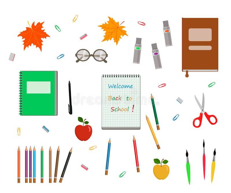 Σύνολο πίσω στα σχολικά στοιχεία στο άσπρο υπόβαθρο απεικόνιση αποθεμάτων