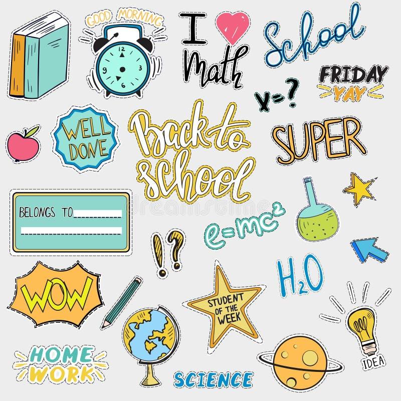 Σύνολο πίσω στις σχολικές αυτοκόλλητες ετικέττες διανυσματική απεικόνιση