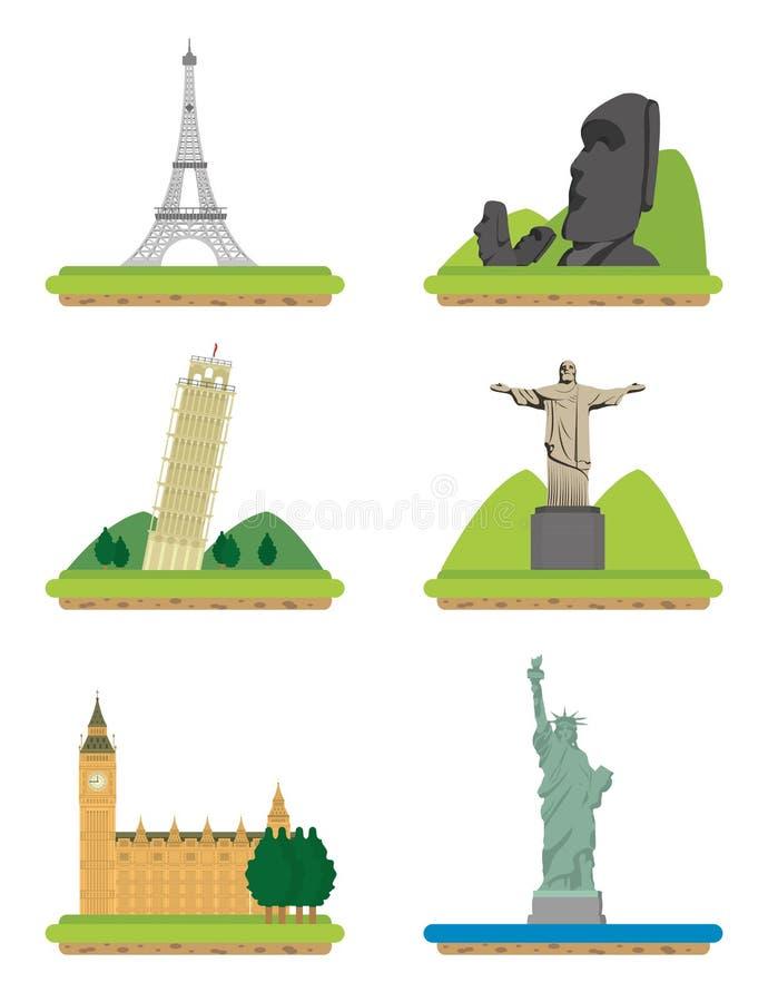 Σύνολο παγκόσμιων μνημείων ελεύθερη απεικόνιση δικαιώματος