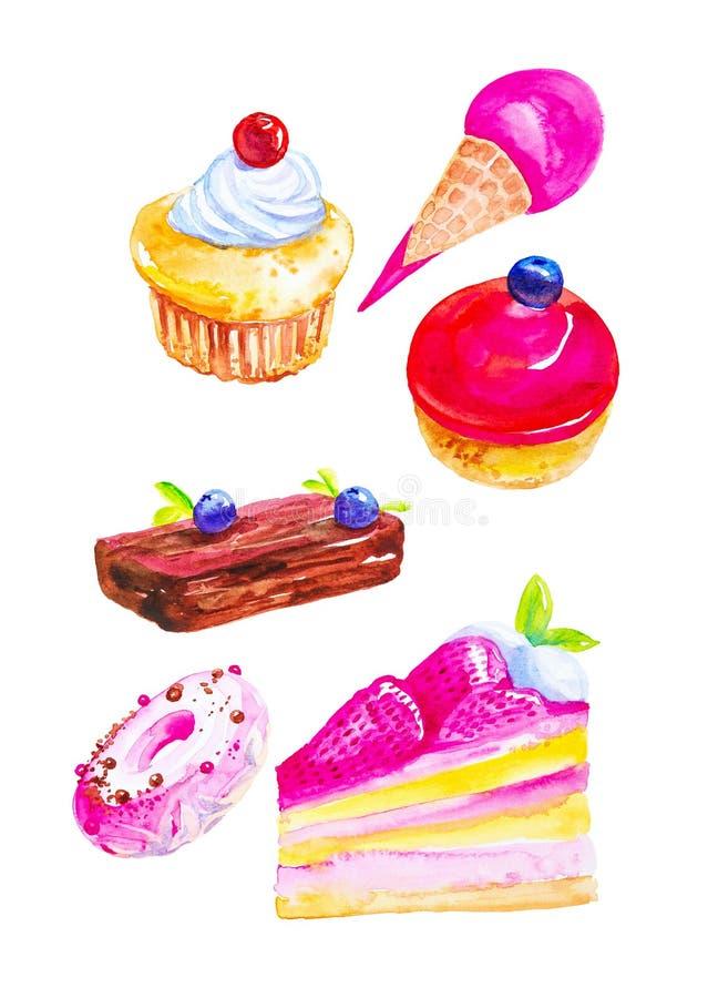 Σύνολο παγωτού, Μπους, κέικ, muffin, γλυκών καλαθιών, doughnuts και ενός κομματιού της πίτας με τα βακκίνια Απεικόνιση Watercolor ελεύθερη απεικόνιση δικαιώματος