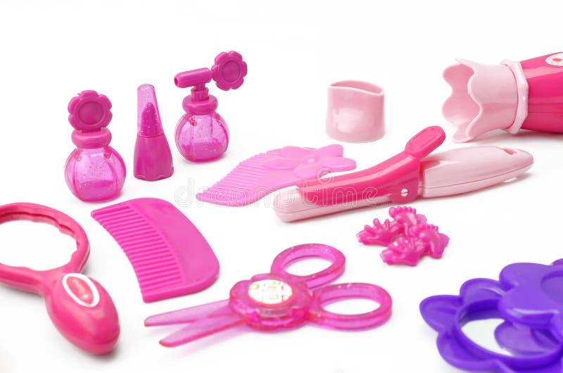Σύνολο παιχνιδιού των παιδιών για hairdressing παιχνιδιών κοριτσιών την εξάρτηση για τα κορίτσια που απομονώνονται στο άσπρο υπόβ στοκ φωτογραφία με δικαίωμα ελεύθερης χρήσης