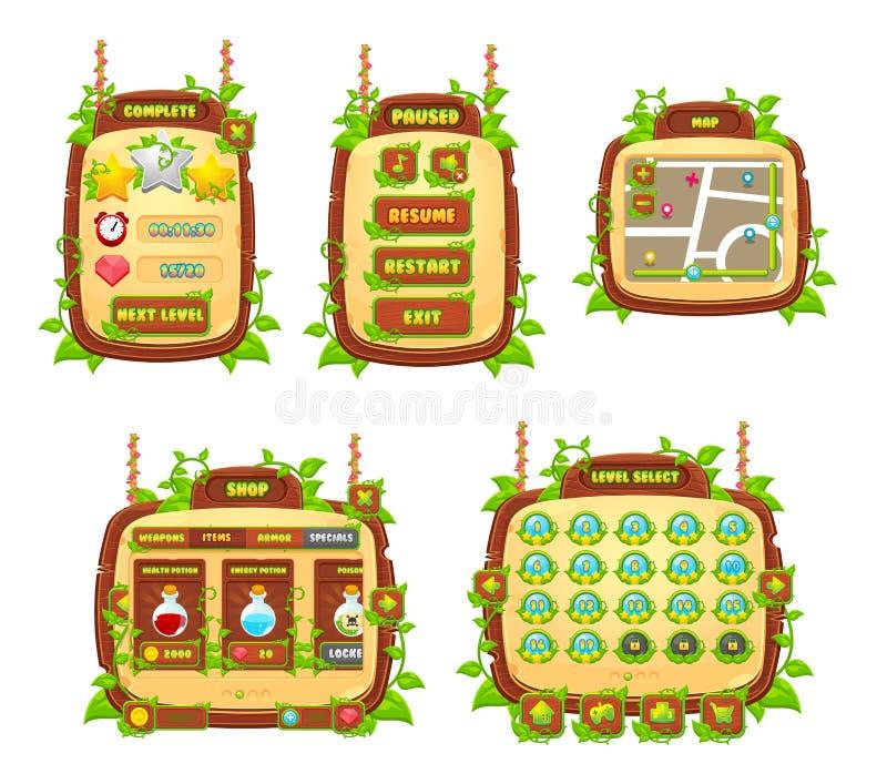 Σύνολο παιχνιδιών GUI αμπέλων και φύλλων διανυσματική απεικόνιση