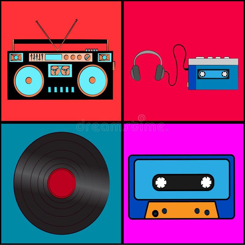 Σύνολο παλαιάς αναδρομικής εκλεκτής ποιότητας παλαιάς μουσικής αναλογικής τεχνολογίας hipster, βινυλίου αρχείου ηλεκτρονικής, κασ απεικόνιση αποθεμάτων