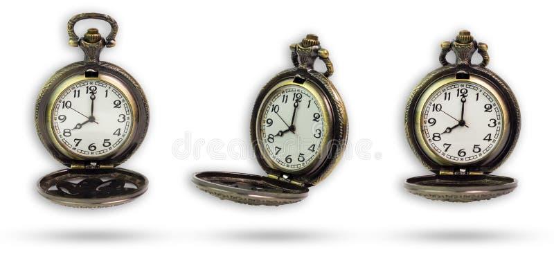 Σύνολο παλαιού ρολογιού τσεπών που απομονώνεται με το ψαλίδισμα της πορείας στοκ φωτογραφία