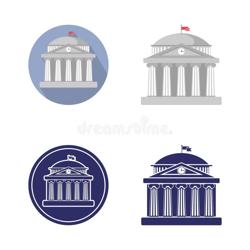 σύνολο πανεπιστημιακού σημαδιού κτηρίου, τράπεζα, μουσείο, βιβλιοθήκη, το Κοινοβούλιο Κλασσική ρωμαϊκή αρχιτεκτονική της Ελλάδας διανυσματική απεικόνιση