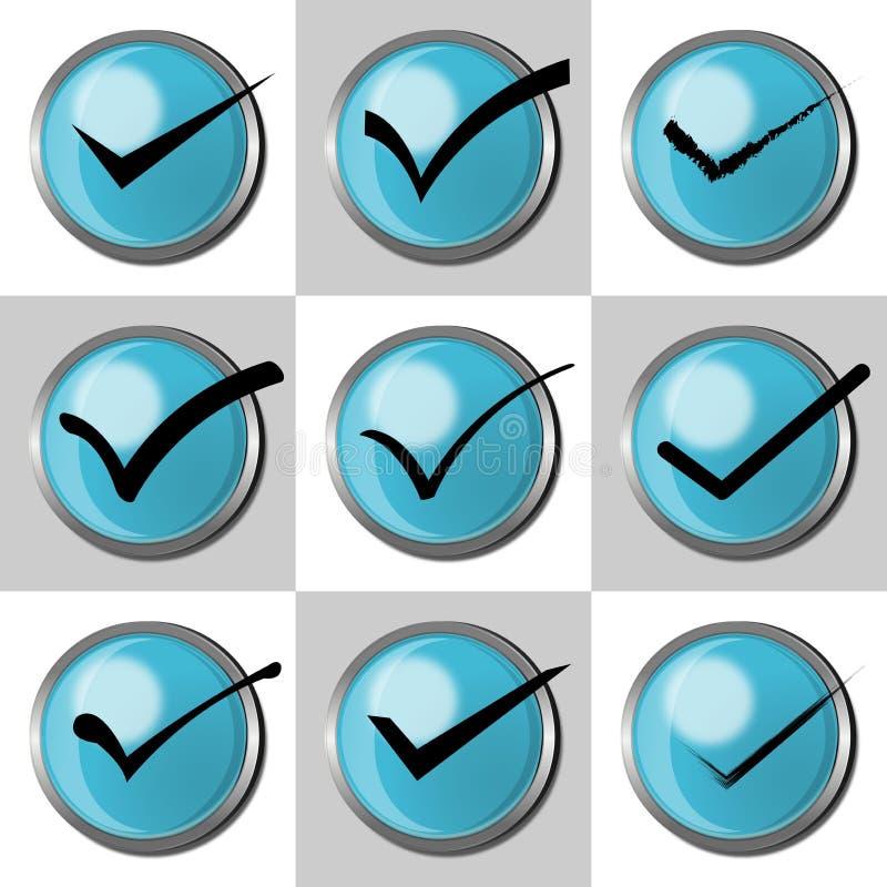 Σύνολο παραθύρου ελέγχου Δεχτείτε, σημάδι τετραγωνιδίου ή ελέγχου με μπλε τρισδιάστατο κουμπιών ελεύθερη απεικόνιση δικαιώματος