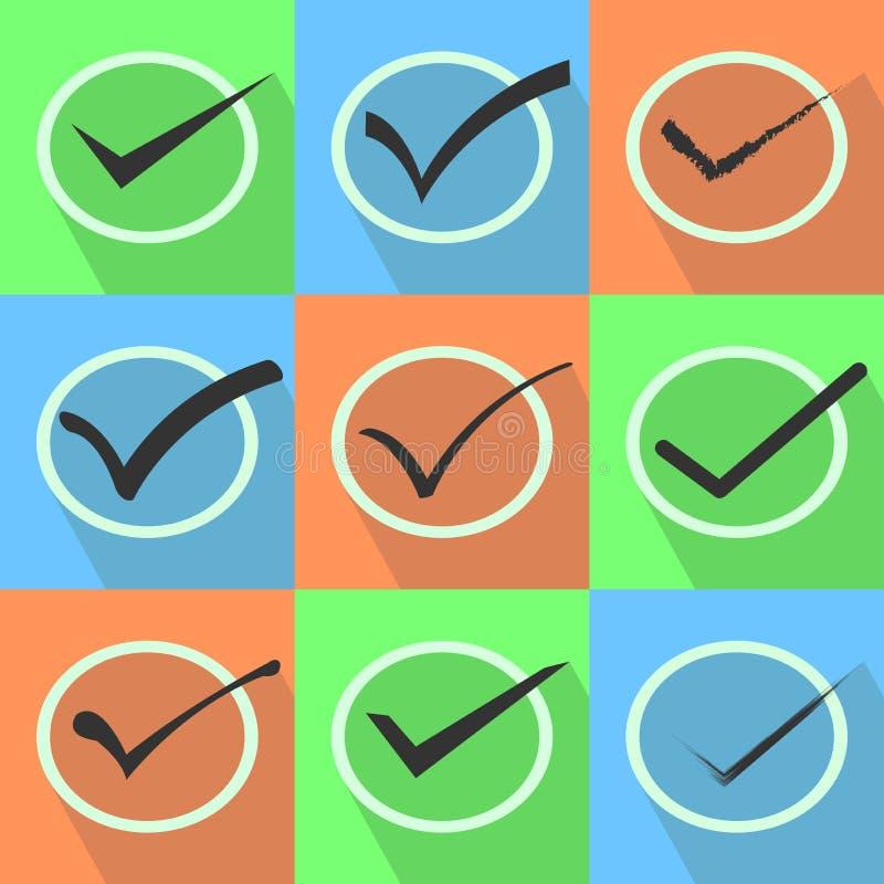 Σύνολο παραθύρου ελέγχου Δεχτείτε, σημάδι τετραγωνιδίου ή ελέγχου με πολλές μορφές ελεύθερη απεικόνιση δικαιώματος