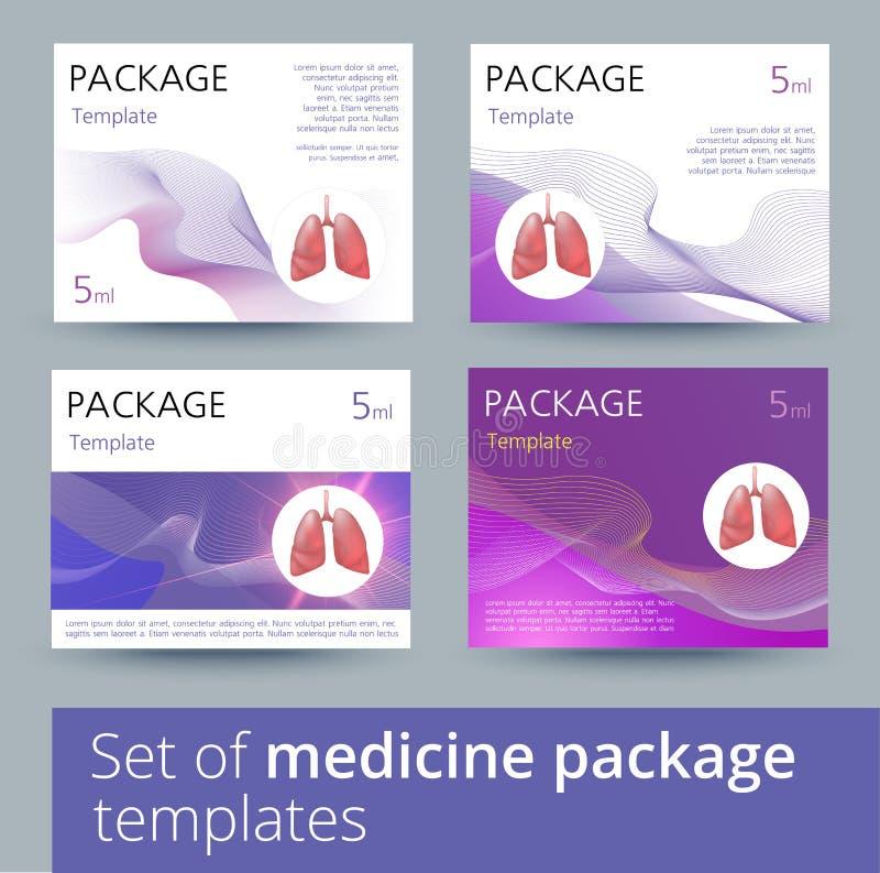 Σύνολο παραλλαγών σχεδίου προτύπων συσκευασίας ιατρικής με τους ρεαλιστικούς ανθρώπινους πνεύμονες διανυσματική απεικόνιση