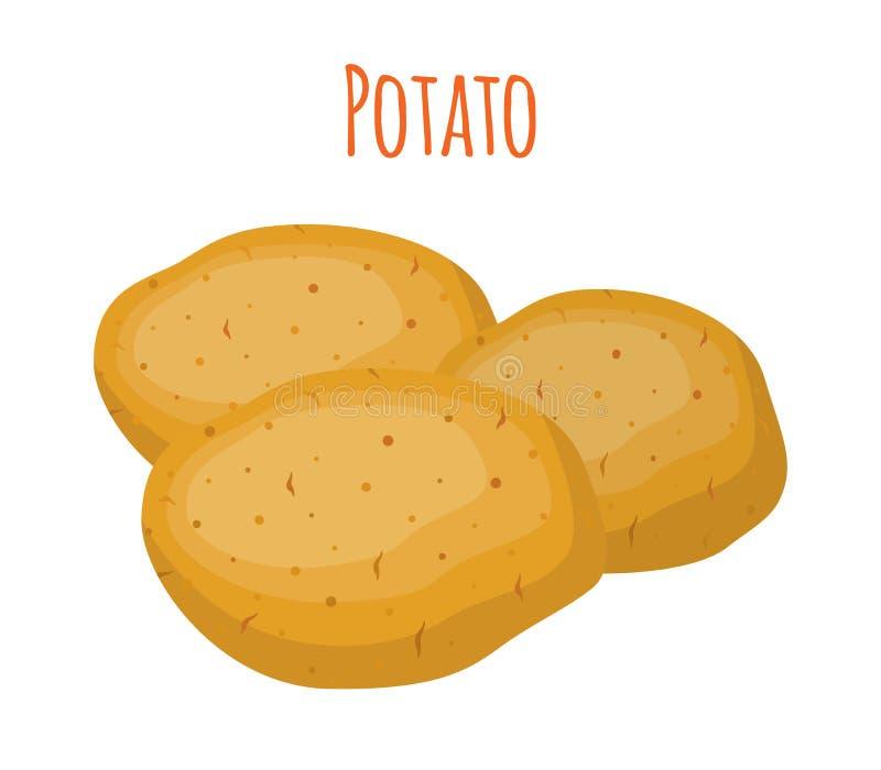 Σύνολο πατατών, φυτικό Οργανική τροφή Επίπεδο ύφος κινούμενων σχεδίων επίσης corel σύρετε το διάνυσμα απεικόνισης απεικόνιση αποθεμάτων