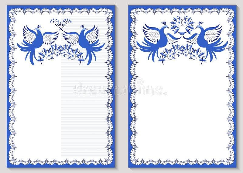Σύνολο περίκομψων προτύπων για τη ευχετήρια κάρτα ή προσκλήσεων με τις διακοσμήσεις στο ύφος της εθνικής ζωγραφικής πορσελάνης μπ ελεύθερη απεικόνιση δικαιώματος
