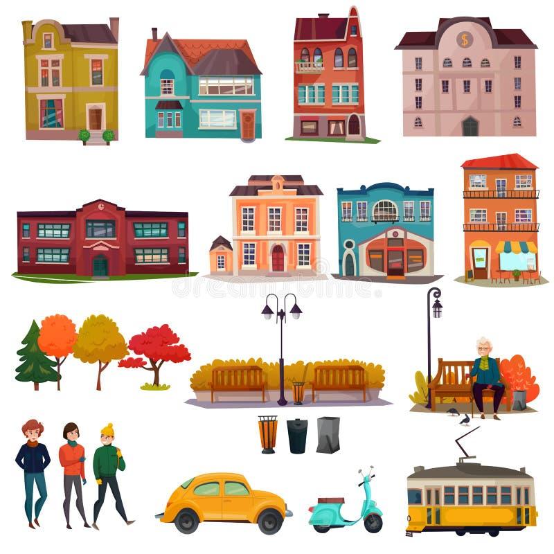 Σύνολο περιβάλλοντος πόλεων απεικόνιση αποθεμάτων