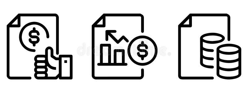 Σύνολο περιγραμμένων επιχειρησιακών εικονιδίων συμπεριλαμβανομένου: Έγγραφο, χέρι, δολάριο, νομίσματα, μορφές διαγραμμάτων Τέχνη  διανυσματική απεικόνιση