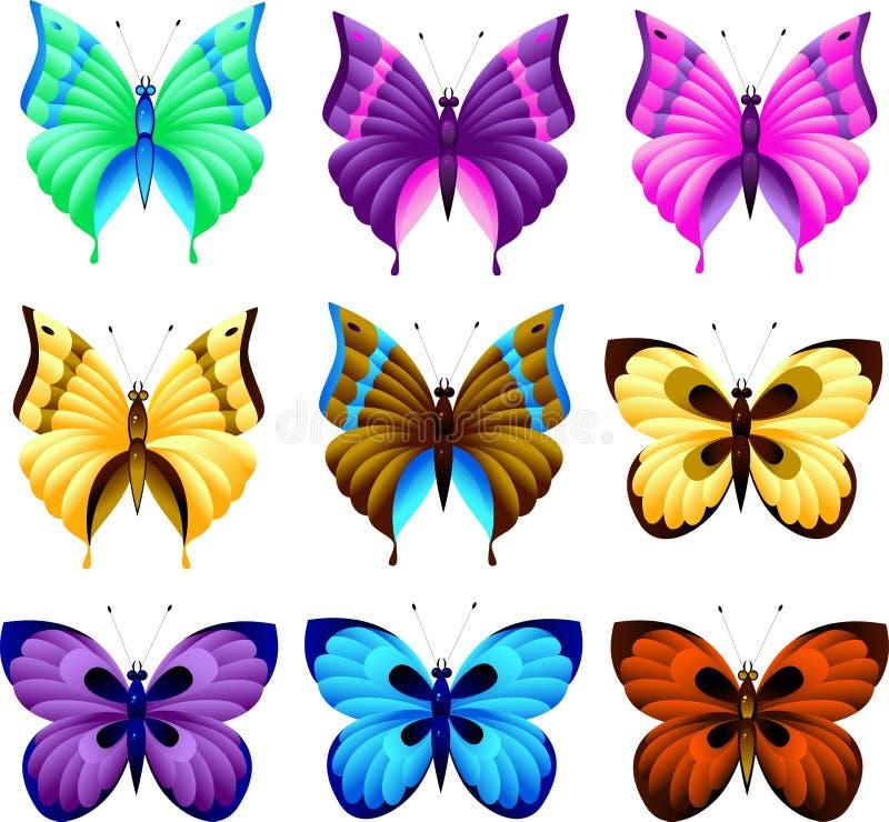 σύνολο πεταλούδων διανυσματική απεικόνιση