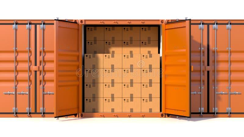 Σύνολο πλάγιας όψης εμπορευματοκιβωτίων φορτίου σκαφών με τα κουτιά από χαρτόνι διανυσματική απεικόνιση