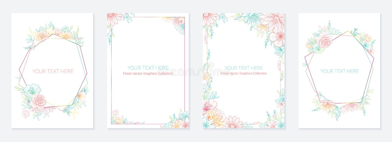 Σύνολο πλαισίων γαμήλιας πρόσκλησης  λουλούδια, φύλλα, watercolor, isola απεικόνιση αποθεμάτων