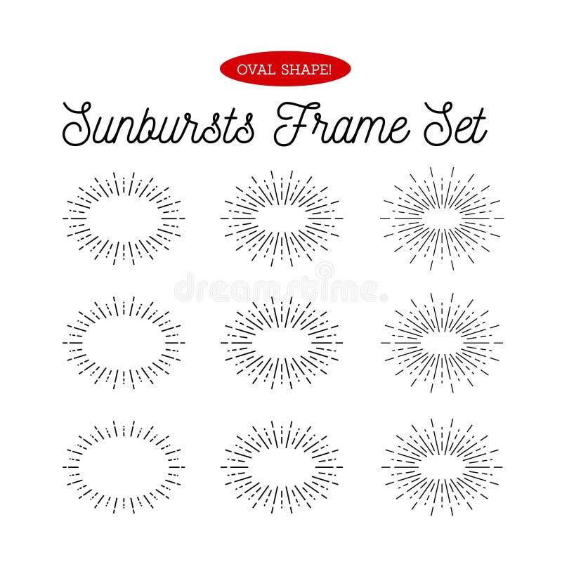 Σύνολο πλαισίων ηλιοφανειών Ωοειδής μορφή Διανυσματική απεικόνιση στο λευκό ελεύθερη απεικόνιση δικαιώματος
