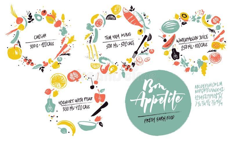 Σύνολο πλαισίων τροφίμων: θαλασσινά, λαχανικά και φρούτα Υγιής κατανάλωση τρόπου ζωής Αγορά αγροτών ελεύθερη απεικόνιση δικαιώματος