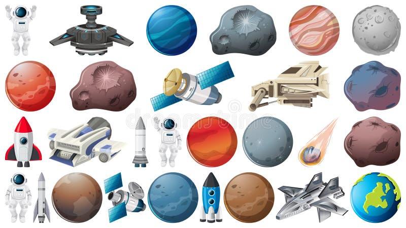 Σύνολο πλανητών και διαστήματος obejcts διανυσματική απεικόνιση