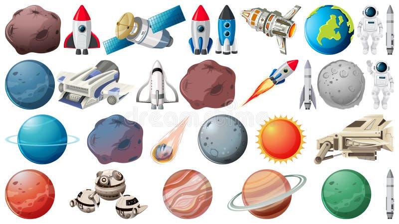 Σύνολο πλανητών και διαστήματος obejcts απεικόνιση αποθεμάτων
