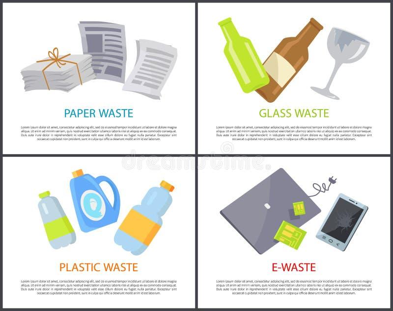 Σύνολο πλαστικού και ε-αποβλήτων γυαλιού εγγράφου εμβλημάτων διανυσματική απεικόνιση