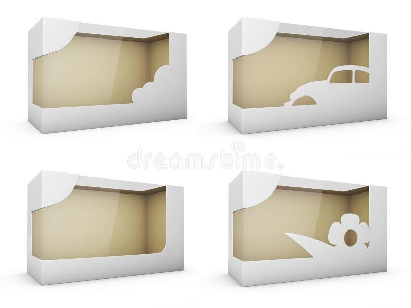 Σύνολο πλαστικών κιβωτίων συσκευασίας χαρτονιού προϊόντων με το παράθυρο η τρισδιάστατη απεικόνιση απομόνωσε το λευκό διανυσματική απεικόνιση