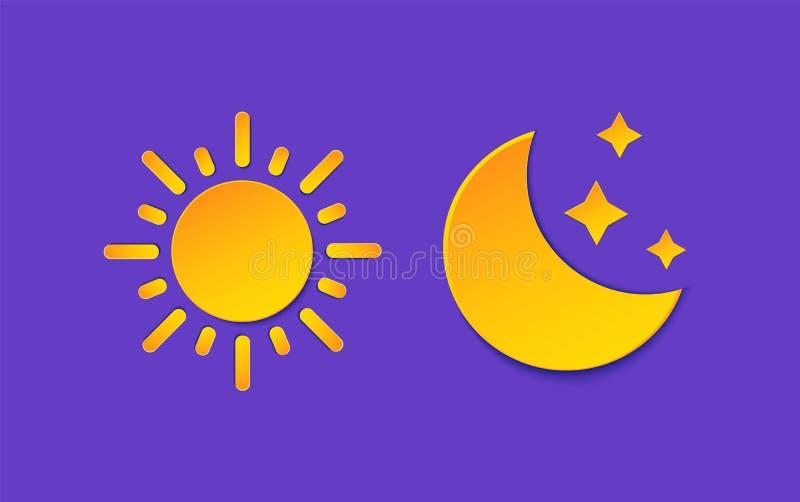 Σύνολο πληροφοριών πρόγνωσης καιρού ήλιων και φεγγαριών Κίτρινη ημέρα, σύμβολο νύχτας, ύφος περικοπών εγγράφου αστεριών Καιρικό σ ελεύθερη απεικόνιση δικαιώματος