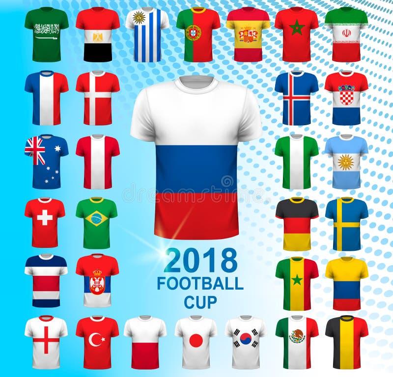 Σύνολο ποδοσφαίρου jerseys για το φλυτζάνι πρωταθλήματος ποδοσφαίρου του 2018 απεικόνιση αποθεμάτων