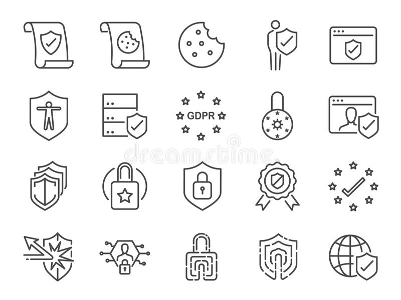 Σύνολο πολιτικών εικονιδίων μυστικότητας Περιέλαβε τα εικονίδια ως πληροφορίες ασφάλειας, GDPR, προστασία δεδομένων, ασπίδα, πολι διανυσματική απεικόνιση