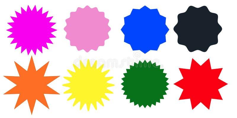 Σύνολο πολύχρωμων γραμματοσήμων starburst στο άσπρο υπόβαθρο επίσης corel σύρετε το διάνυσμα απεικόνισης απεικόνιση αποθεμάτων