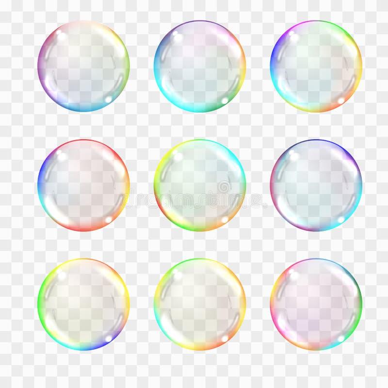 Σύνολο πολύχρωμων διαφανών σφαιρών γυαλιού Διαφάνεια μόνο απεικόνιση αποθεμάτων