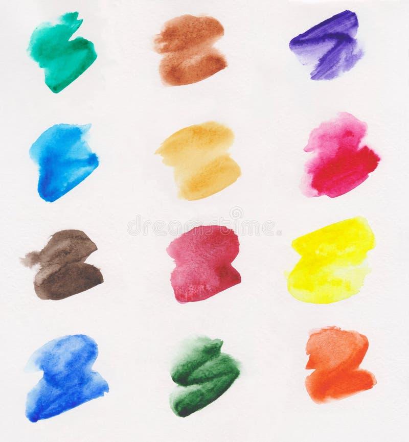 Σύνολο πολύχρωμων κτυπημάτων βουρτσών watercolor σε ένα μπεζ υπόβαθρο ελεύθερη απεικόνιση δικαιώματος