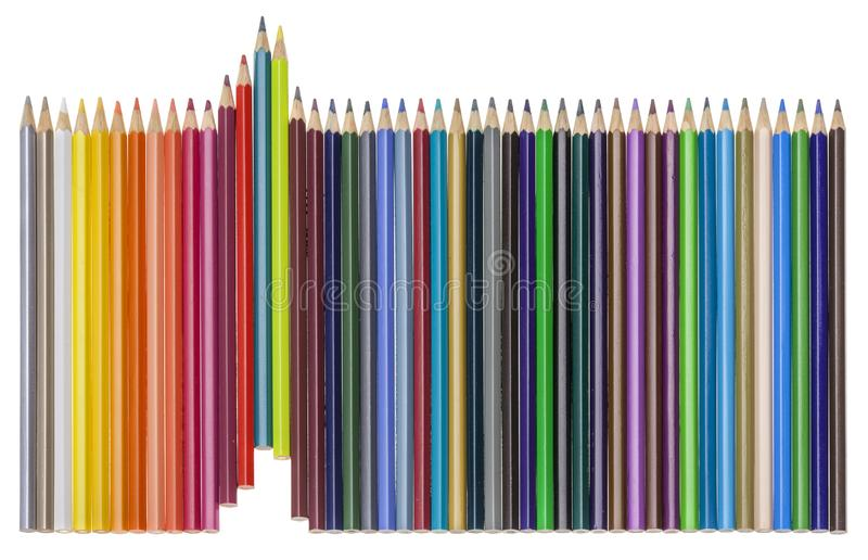 Σύνολο πολύχρωμων pensils που αυξάνονται τη σειρά, που απομονώνεται στο λευκό στοκ εικόνα με δικαίωμα ελεύθερης χρήσης