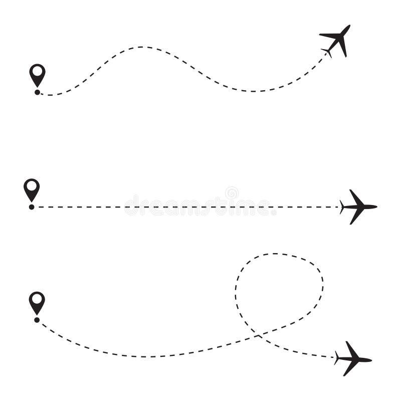 Σύνολο πορείας γραμμών αεροπλάνων επίσης corel σύρετε το διάνυσμα απεικόνισης διανυσματική απεικόνιση