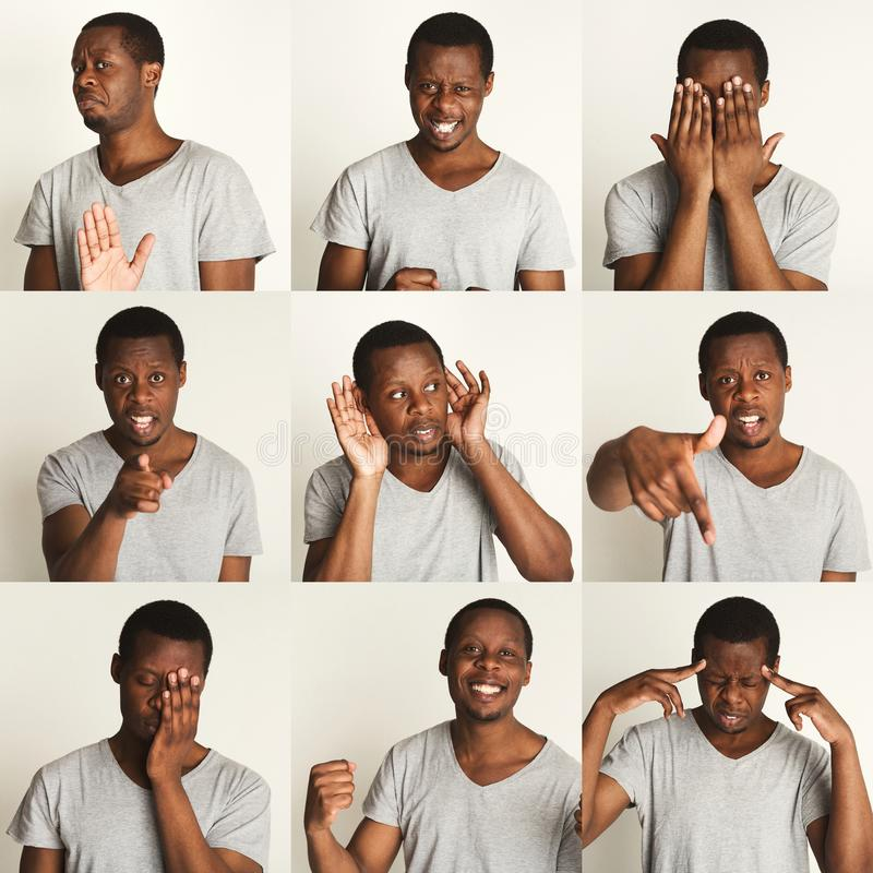 Σύνολο πορτρέτων μαύρων ` s με τις διαφορετικές συγκινήσεις στοκ φωτογραφίες