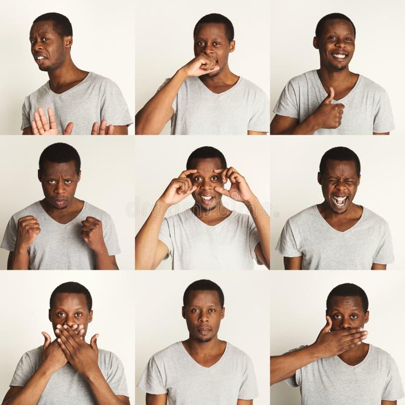 Σύνολο πορτρέτων μαύρων ` s με τις διαφορετικές συγκινήσεις στοκ εικόνες με δικαίωμα ελεύθερης χρήσης
